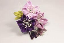 Girls' Handmade Japanese Kanzashi Hair Pin Clip Pink Purple Sakura Pearls 1pc