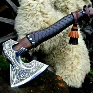 Custom Handmade Damascus Steel Tomahawk Axe Viking Hunting Throwing Camping Axe