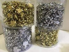 New Metallic bows 2.5cm bulk lot of 100 gold or silver self adhesive gift wrap
