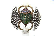 ANTIQUE FRENCH DIAMOND EMERALD SCARAB BROOCH CIRCA 1900'S
