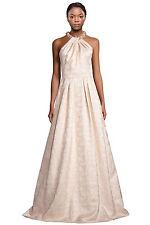 Carmen Marc Valvo Gold Beaded Neck Jacquard Halter Evening Gown Dress Size 10