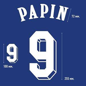 Papin 9. France Home football shirt 1992 - 1993 FLOCK NAMESET NAME SET PRINT