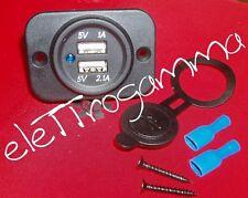 doppia presa USB da pannello auto camper barca moto ALIMENTAZIONE uscita 5V
