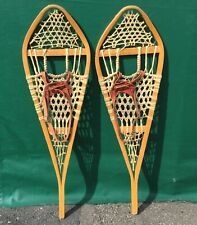 Very Nice Vintage 'Gros Louis' Snowshoes 42x12 Snow Shoes Leather Bindings L@K