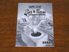 Putt & Putter Miniature Golf manual -good shape- for Sega Game Gear