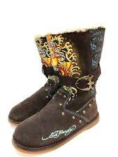 Ed Hardy Women's Suede Winter Boots Size 5 M