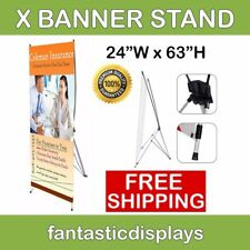 X Banner Stand Tripod Trade Show Display Sign 24x63 Advertising - Hardware Only