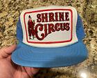 Vintage Shriner Circus Mesh Trucker SnapBack Cap Hat Light Blue White Red NEW