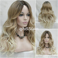 Ladies Wig Lace Front big Curly Wavy hair brown Golden Blonde mix long wig