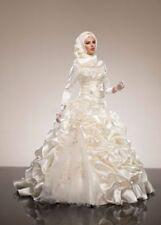New Muslim Wedding Dresses White Luxury High Neck Long Sleeve Wedding Gown