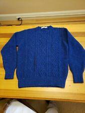 Inis Meain Merino Aran Sweater Men's Small, Blue