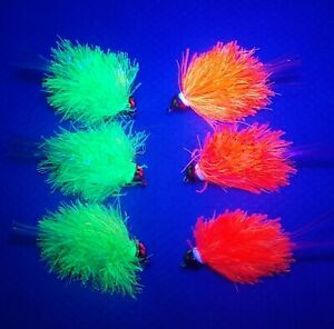 3 UV BLOB Flies Goldhead Chartreuse Hot Red FLUORO Trout Fly Fishing Size 10, 12