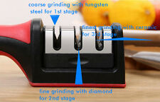 New Tungsten Steel & Diamond & Ceramic 3 Stages Kitchen Household Sharpener