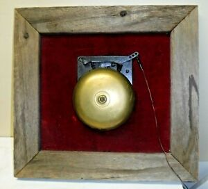 """Antique Brass Ringside Boxing Fight Mechanical Bell Mounted on Wood Doorbell 8"""""""