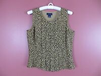 TB03523- ANN TAYLOR Woman 100% Silk Sleeveless Top Pleated Front Browns Geo 4