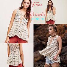 new $148 Free People *Circles Within Circles*Crochet Tank Top Beach Cream/Ecru M