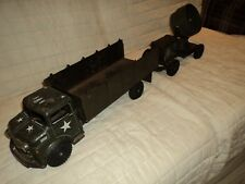 """Vintage Large Marx Lumar US Army Truck With Aerial Light (32"""" Long)"""