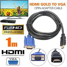 New 1m HDMI to VGA Cable HD-15 D-SUB Video Adapter HDMI Cable for PC HDTV UK