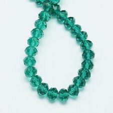 AKTION 1500 FACETTIERTE GLASPERLEN 3x4mm Rondelle Perlen tannengrün nenad-design