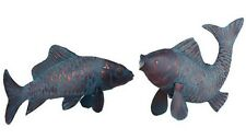 "Two Outdoor Koi Fish Statues Garden Stakes Decor 16"" 18"" Antique Copper Finish"