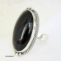 Black Onyx Stone solid 925 Sterling Silver Band Ring Handmade Ring Size Q yy76