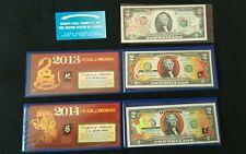 Genuine Legal Tender US $2 Bill / Colorized Commemorative Note / UNC