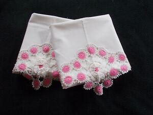 Vtg Pair Crocheted Pillowcases-Pink Circles/White Cabbage Rose-30x19-Handmade