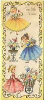 VINTAGE CUTE GIRLS GINGHAM DRESSES GARDEN FLOWERS 1 CHRISTMAS TOY SHOP ART CARD