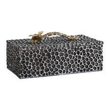 Honeycomb Bee Sculpture Decorative Box | Modern Black Gold Silver Trinket Lid