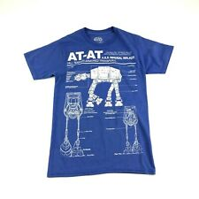 Star Wars Mens Blue Imperial Walker Graphic Logo T Shirt S
