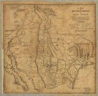 A4 Ristampa Di Americana Città Paesi Stati Mappa Nuovo Spagna