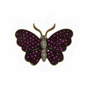 Vintage Ruby & Diamond Butterfly Brooch