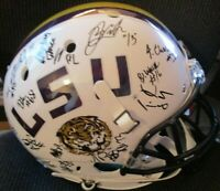 LSU TIGERS 2019 TEAM SIGNED FULL SIZE WHITE SCHUTT HELMET w/ COA CHASE DELPIT