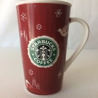 Starbucks Red Tall Holiday Christmas 2008  Deer Logo 16 oz Coffee Tea Mug Cup