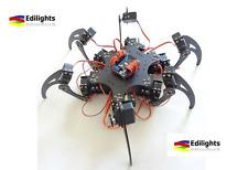 RAGNO ROBOT CHASSIS HEXAPOD ALLUMINIO NERO + STAFFE E SERVO ARDUINO COMPATIBILE