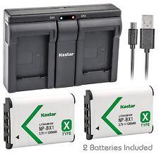 Kastar 2 Battery & Dual Slim USB Charger for Sony NP-BX1 X-SERIES NPBX1/M8