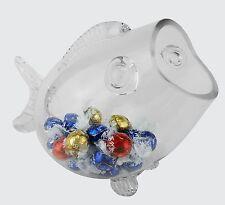 "Glass Fish Shaped Candy Aquarium Bowl Jar, Valentine's Gift, H-7.5"" L-11"", 1PC"