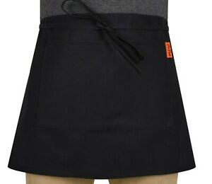 Black Apron With Pocket For Bar Waiter Waitress Cafe Pub Restaurant with Pockets