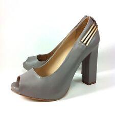 Kat Maconie Heels Platforms Peep Toe Gray Leather Size 37 EU, 6B US