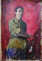 Russian Ukrainian Soviet Oil Painting self-portrait impressionism realism