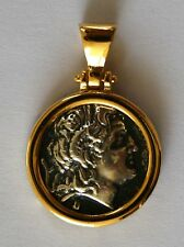 Alexander The Great Medium Coin Pendant 925 Sterling Silver Cold Plated 51
