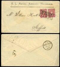 GERMANY 1876 MEYER ENVELOPE HILDESHEIM BOXED CANCEL to SHEFFIELD GB