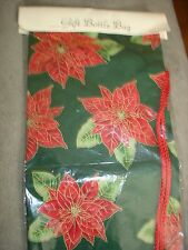 GIFT BOTTLE BAGS POINSETTIAS DESIGN COTTON