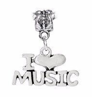 I Heart Music Love Musician Words Teacher Dangle Charm for European Bracelet