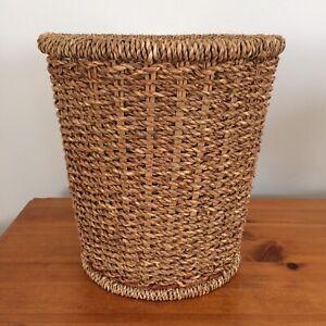 Vintage Woven Waste Paper Basket Bin Wicker Rattan Plant Pot Holder Mid Century