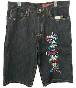 "Ed Hardy Mens Shorts Size 36x15 Denim 100% Cotton ""Death Before Dishonor"""