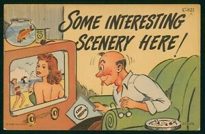 Mayfairstamps Comic Man Watching TV Women Beach Postcard wwo_64581