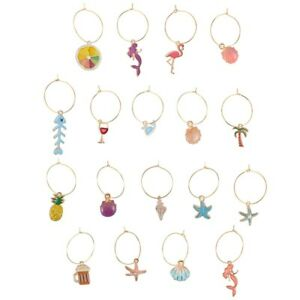 18Pcs Party Wine Glass Charms Rings Glass Drink Markers Tags (Assorted Color)