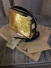 NEW BURBERRY GOLD BLACK SEQUINS BRIDLE LEATHER POUCH Bag ZIPPER