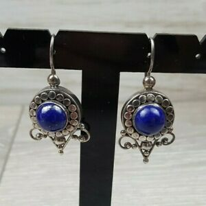 Designer Suarti silver Lapis Lazuli earrings  Bali Style